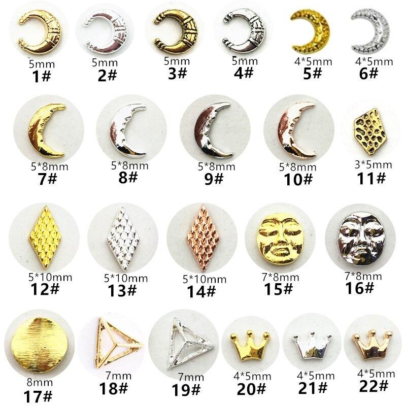 50 шт./упак., японские металлические аксессуары для ногтей, кавайная маска в форме Луны, детали для ногтей «сделай сам», очаровательные украше...