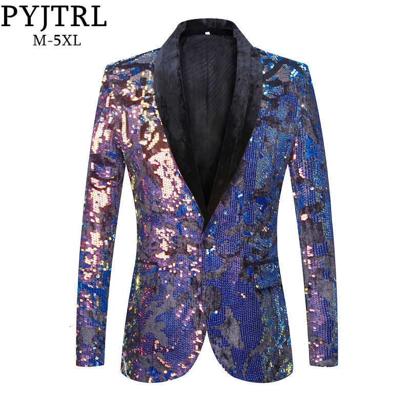 PYJTRL Men Fashion Blue Gold Red Sequins Velvet Blazer DJ Singer Shiny Paillette Slim Fit Suit Jacket Party Prom Dress Costume