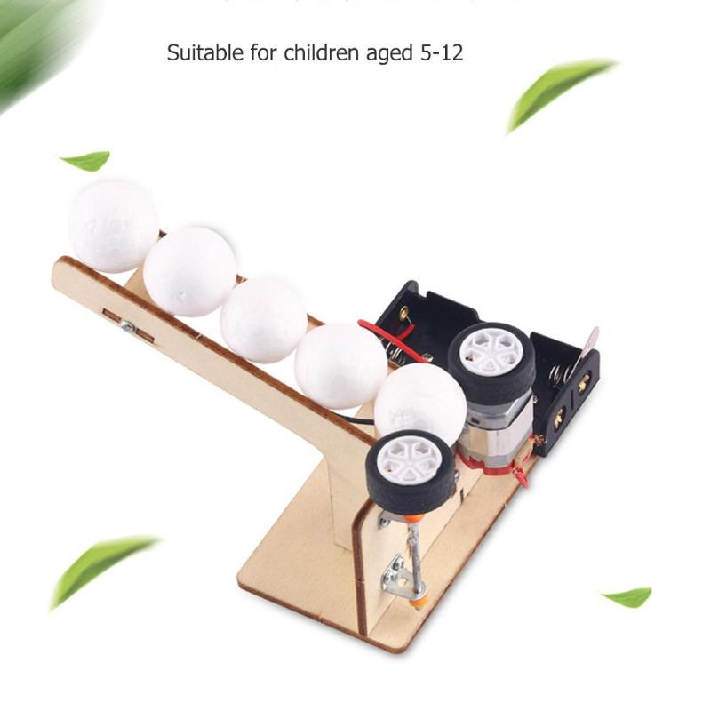 DIY Electric Ball Pitching Materials Wooden School Projects Science Experiment Model Kit Creative Educational Teaching Equipment