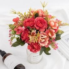 Flores de seda Vintage flores de seda de peonía flores artificiales europeas pequeñas rosas boda flores falsas Festival suministros decoración del hogar ramo
