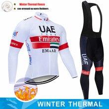 Conjunto de Jersey de Ciclismo para Hombre, Ropa de manga larga con forro polar térmico, para invierno, UAE Pro Team, nuevo