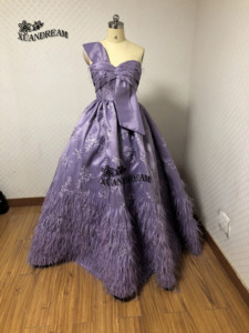 Image 4 - XUANDREAM Real photo bestidos de gala vestido debutante curto ball gown feathers prom dresses for special occasion dresses XD157