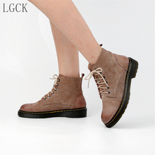 Plus Size 34-43 Genuine Leather Women Shoes High Quality Platform Winter Warm Motorcycle Boot Woman Punk Ankle Boots Lace-Up New цены онлайн