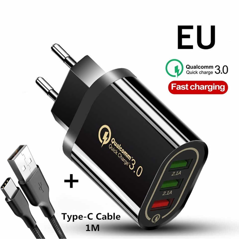 Quick Charger QC 3.0 3 Port USB Charger EU/US 5V/3A Fast Charging For iphone Huawei Samsung Redmi Xiaomi Mobile Phone Adapter