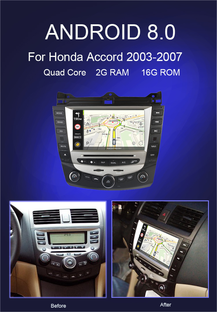 Best Car Radio Multimedia Android 8.0 for Honda Accord 7 2003-2007 car dvd audio stereo player gps Navigation wifi RDS 2din 0
