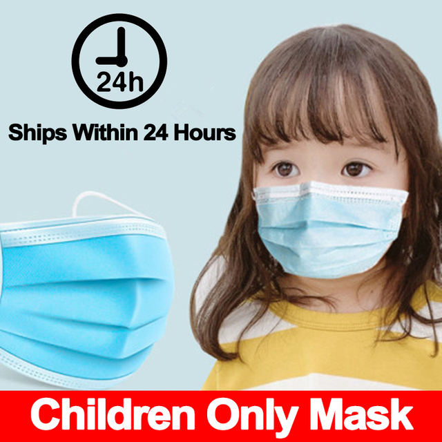 1Pcs 3 layer Disposable Elastic Mouth Soft Breathable Blue Soft Breathable Flu Hygiene Child Kids Face Mask Dropshipping