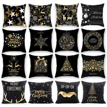 45X45CM Pillow Case Merry Christmas Decoration For Home 2019 Ornament Gift Cristmas Noel Happy New Year 2020