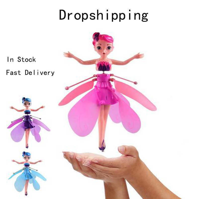 Fairy Magical Princess Dolls Mini UFO RC Drone Infraed Light Induction Aircraft Flying Helicopter Doll Figure Toys For Girl Kids