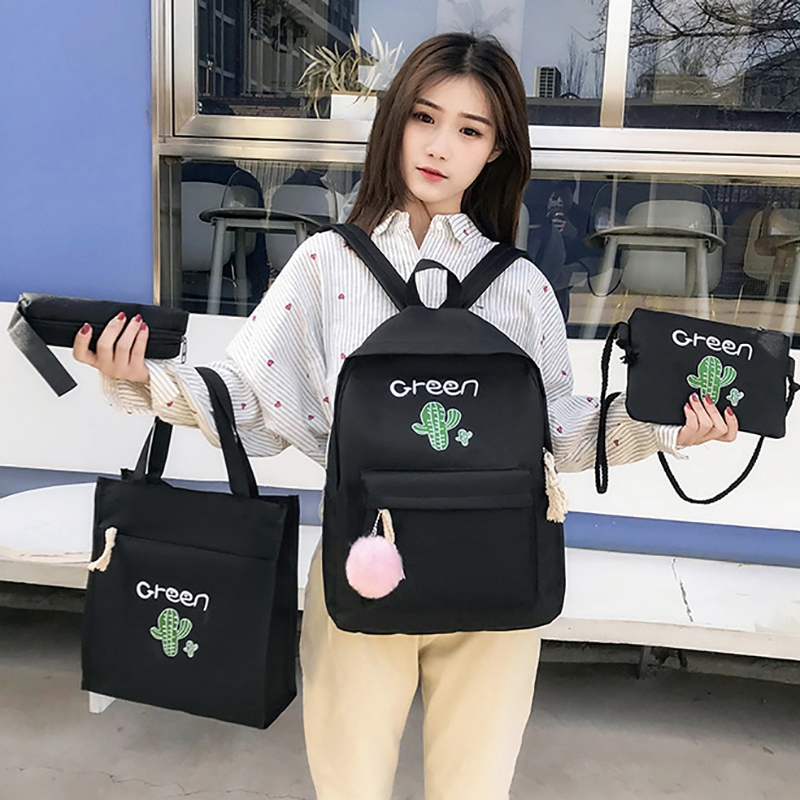 4Pcs Canvas School Backpack Set For Teenage Girls Cactus Printing Shoulder Bag+Women Backpack+Pencil Case+Purse Travel Satchel