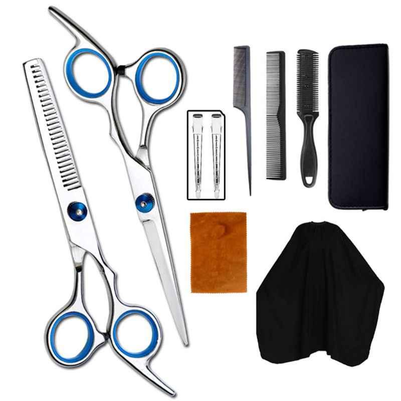 10 шт., ножницы для стрижки волос, бритва, гребень, зажимы, накидка, парикмахерские ножницы, набор, Профессиональный парикмахерский салон для домашнего использования