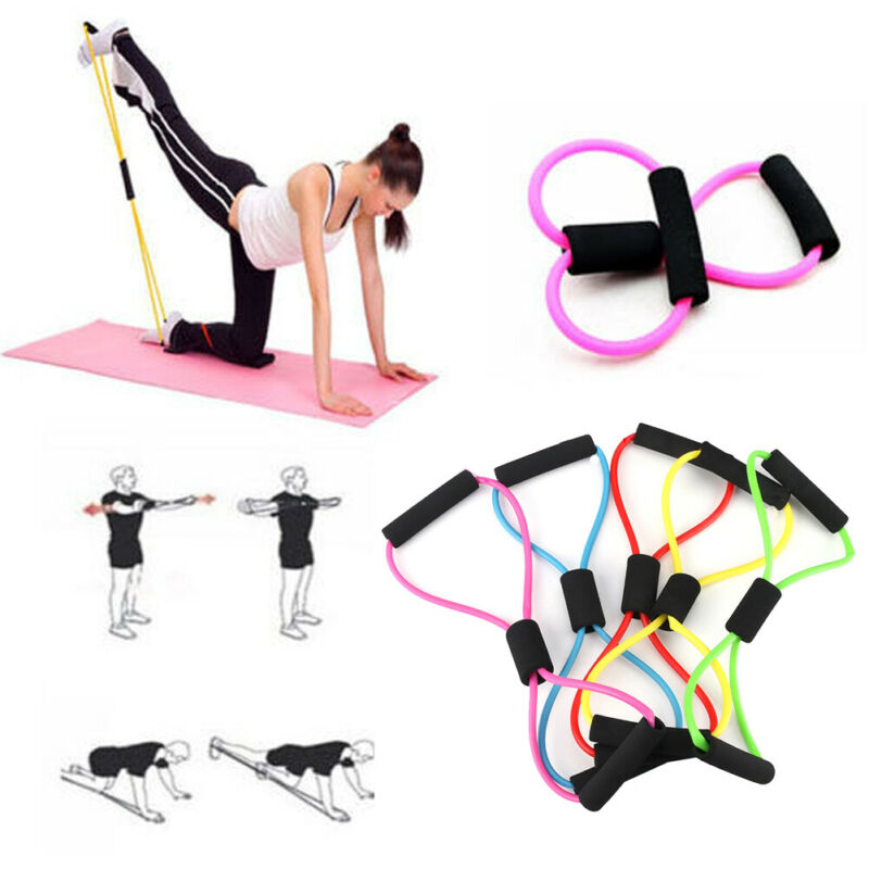 2020 Yoga Gym Fitness Resistance 8 Word Chest Expander Rubber Tubing Pull Rope Workout Muscle Elastic Bands For Sports Exercise