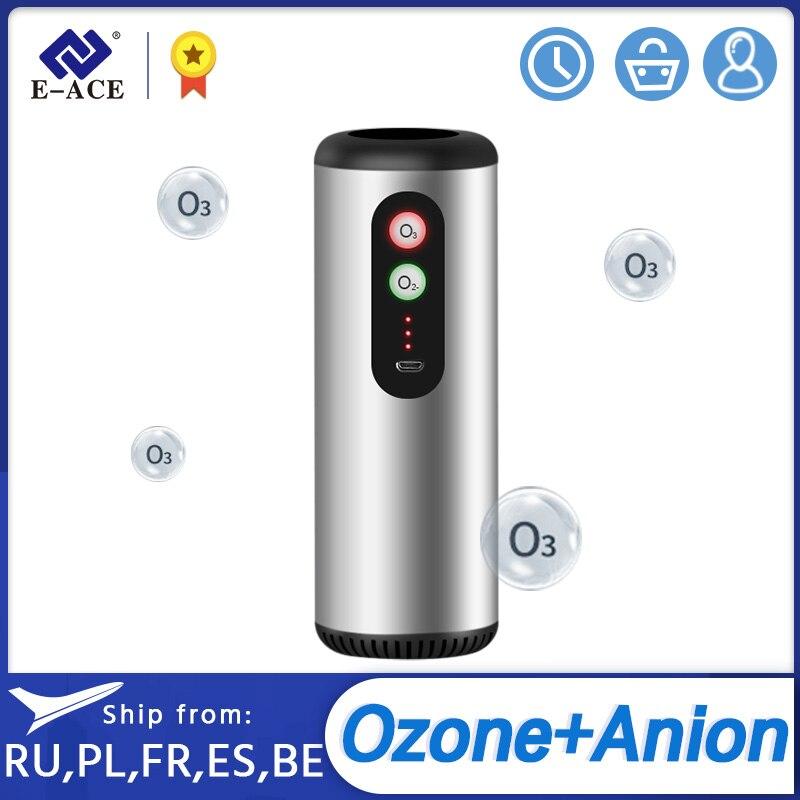 E-ACE Car Air Purifier Car Ozone Generator HEPA Filter Filter Fresh Air Anion Car Air Cleaner Air Ionizer for Car Home Office