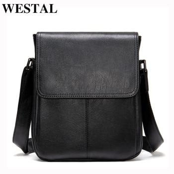 WESTAL Men's Genuine Leather Shoulder Bag For Men Casual Crossbody Man Handbag Messenger Bag Male Side Bags Guarantee Men's Bags