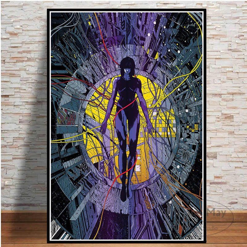 Ghost In The Shell Fight Police Anime Posters And Prints Canvas Painting Pictures Wall Art Abstract Decorative Home Decor Quadro Painting Calligraphy Aliexpress