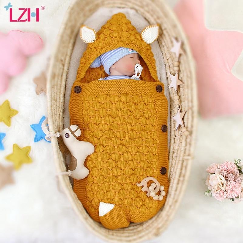 Baby Sleeping Bag Autumn Kids Newborn Infant Sleepsack Knitted Sleeping Bag For Baby Boy Girl Cute Hooded Wrap Swaddling Blanket