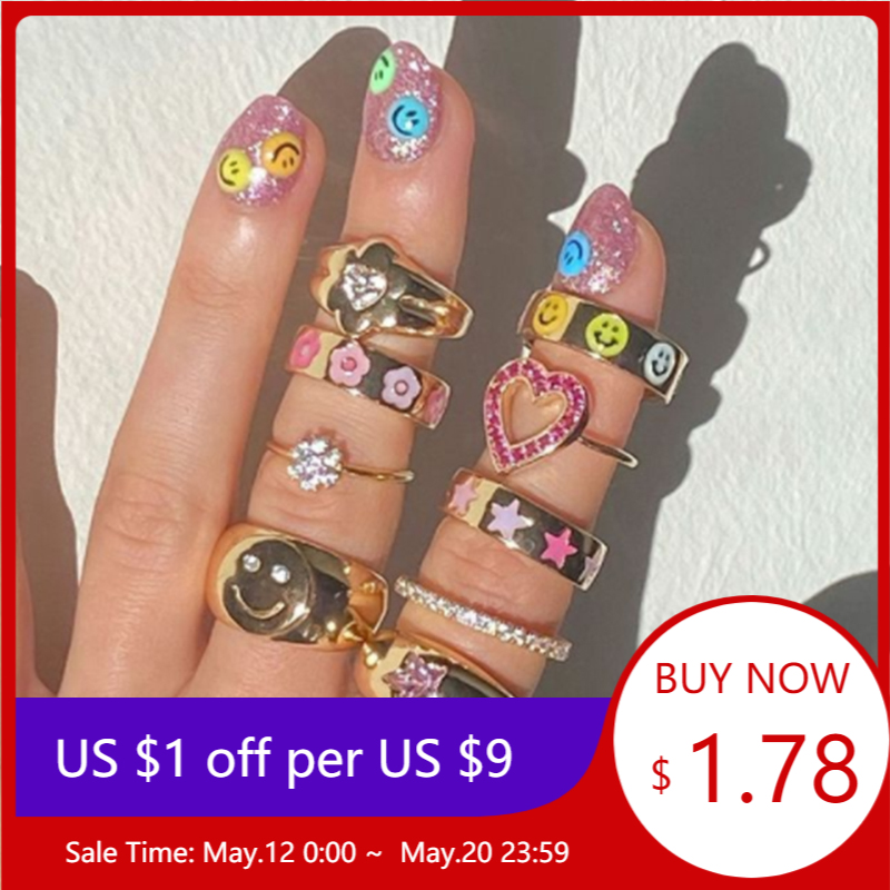 Fashion High Quality Korean Summer Cute Star Enamel Rings for Women Engagement Dinner Party Birthday Anniversary Gifts Jewelry