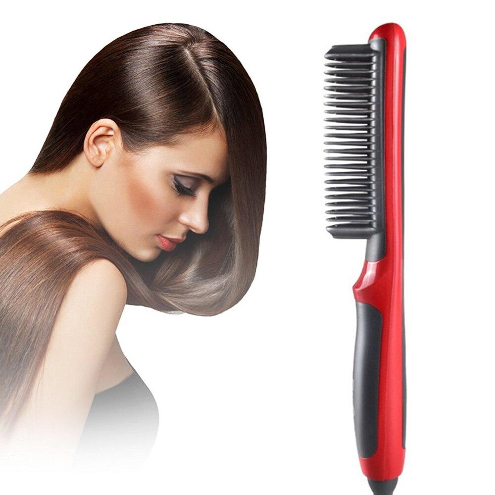 Electric Hair Brush Hair Straightener Comb Men & Women Hair Iron Straightening Brush Beard Comb Straightener Heated Brush