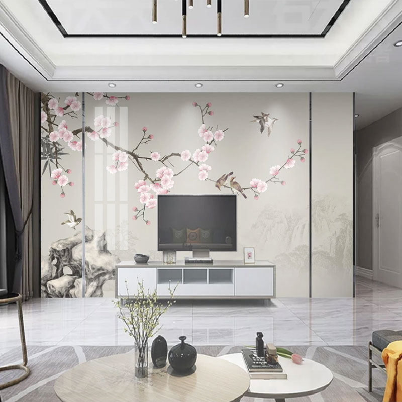 Seamless Wallpaper New Chinese Style Hand-painted Plum Flower And Bird Classical Background Wall