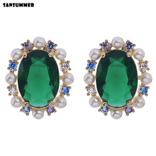 Sansummer 2019 New Hot Fashion S925 Needle Oval Green Zircon Pearl Elegant Gorgeous Party Boho Earrings For Women Jewelry