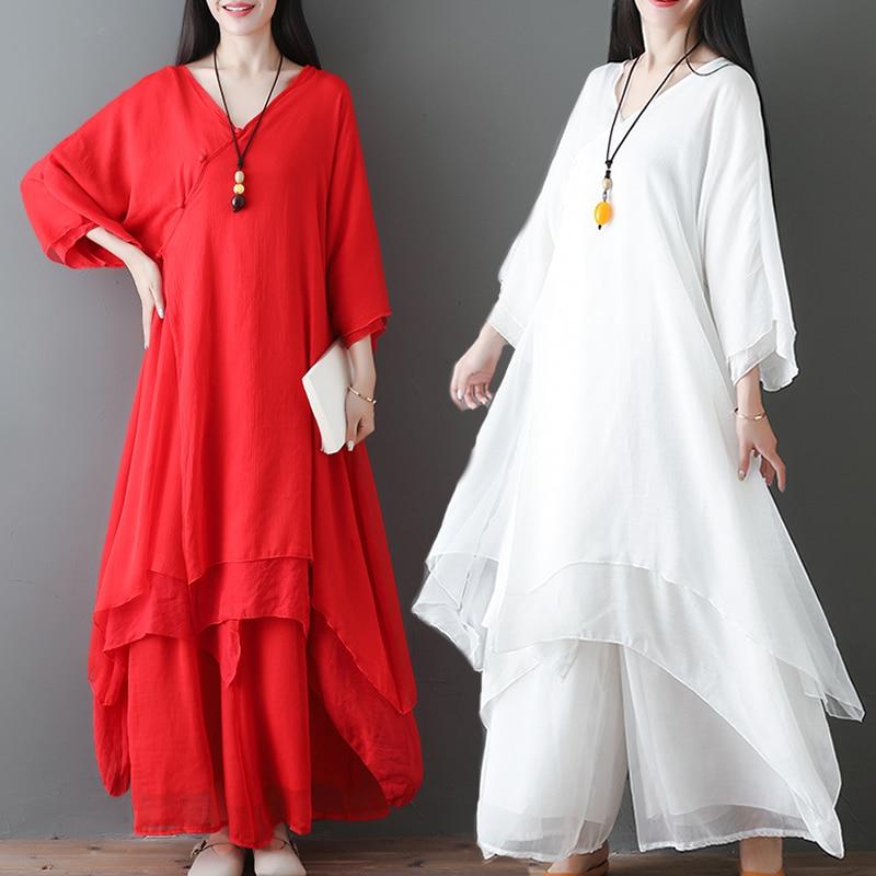 2020 Chinese Dress Cheongsam Qipao Cheongsam V Neck Loose Hemp Dresses Flax Robe Zen Tea Pure White Elegant Vintage
