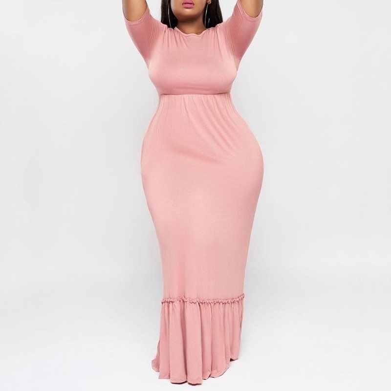Лето Осень Платье женское 2019 сексуальное розовое длинное тонкое эластичное элегантное облегающее платье Плиссированное Клубное вечернее платье плюс размер 3XL 4XL