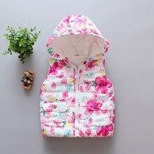 Осенне-зимние теплые детские жилеты с цветочным рисунком; Верхняя одежда с героями мультфильмов для девочек; детские куртки с капюшоном без рукавов; парки; хлопковое пальто для малышей