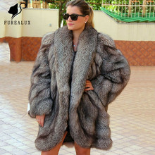 New Women Real Silver Fox Fur Coats Fashion Jacket With Big Lapel Collar Natural Overcoat Slim Winter Thick Warm
