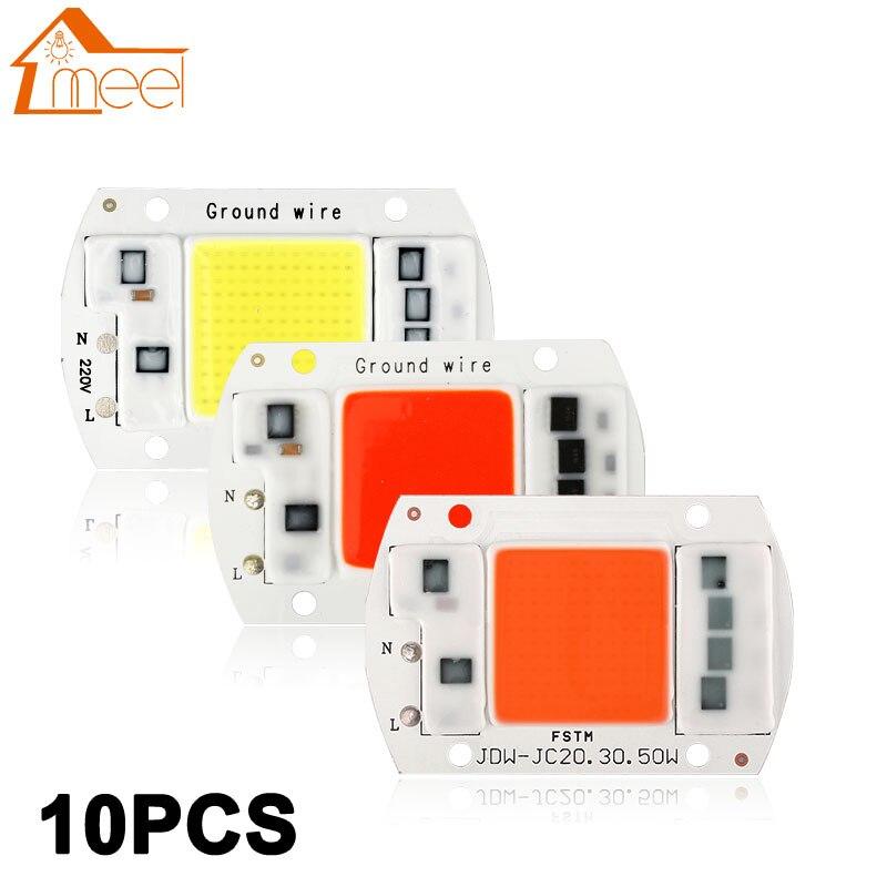 10 Pcs COB LED Lamp Chip 10W 20W 30W 50W LED COB Bulb Lamp 220V IP65 Smart IC Driver Cold/ Warm White LED Spotlight Floodlight