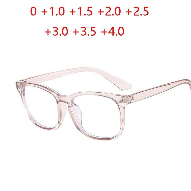 Новые синие светильник блокировка очки для чтения прямоугольной формы, для мужчин и женщин модные пресбиопии диоптрий + 1,0 + 1,5 + 2 + 2,5 + 3 + 3,5 + 4
