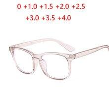 Nova luz azul bloqueando óculos de leitura quadrados moda feminina presbiopia óculos diopter + 1.0 1.5 2 2.5 3 3.5 4