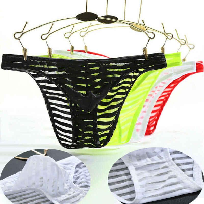 Hot sprzedam mężczyźni majtki niskiej talii spodnie Sexy przezroczyste lodu jedwabne bez szwu bielizna stroje kąpielowe Sexy Men spodenki strój kąpielowy Mesh