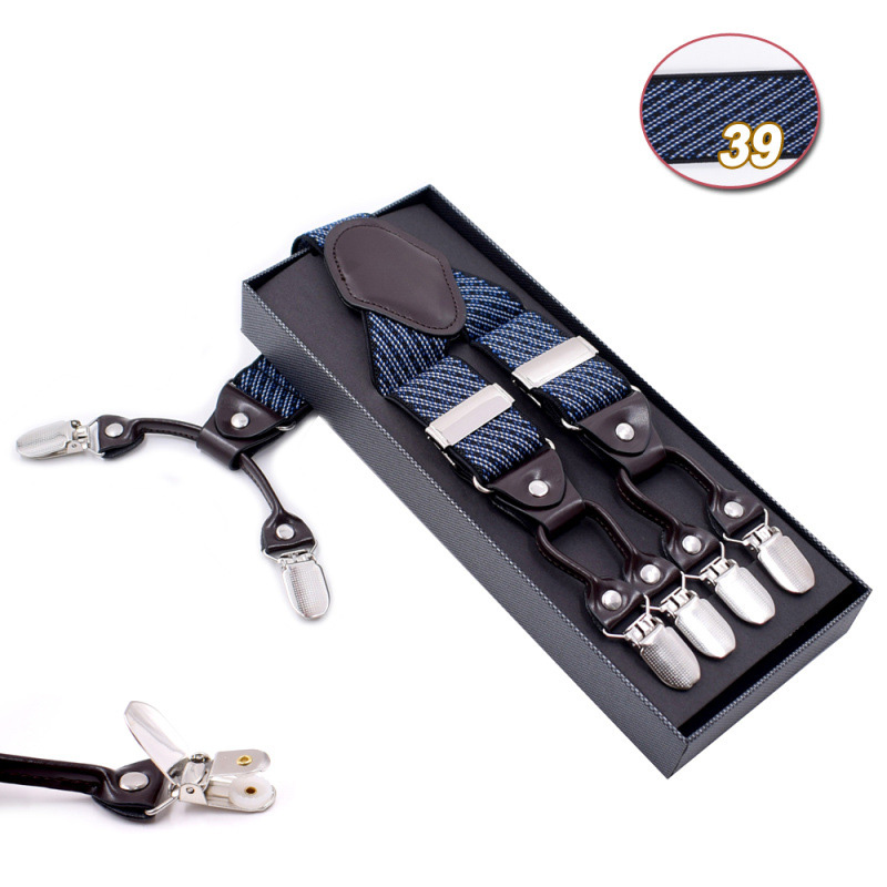 Fad Adult Suspenders Men Unisex Vintage Suspenders Elastic Y-Shape Strap Pants Trousers Adjustable 6 Button Belts Gift With Box