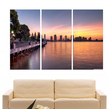 Modern Colorful Photo Picture city river Room Decor 3 pcs Cities Canvas Art Painting Living Bedroom