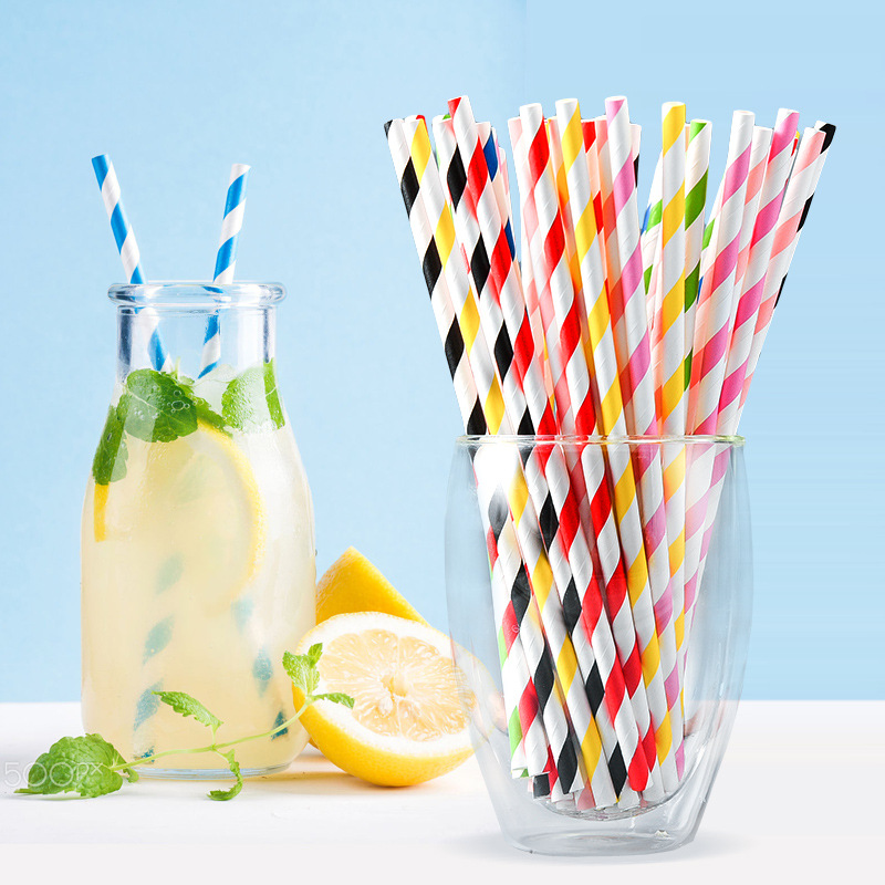 Environmentally Friendly Colored Paper Straw Disposable Straws Creative Handmade Art Beverage Straw Long Fruit Juice Straw Whole