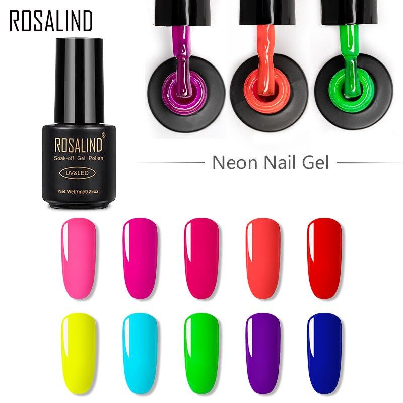 Набор неоновых гель-лаков для ногтей ROSALIND, гибридный полуперманентный Гель-лак для маникюра, Праймер, база и топовое покрытие, 7 мл