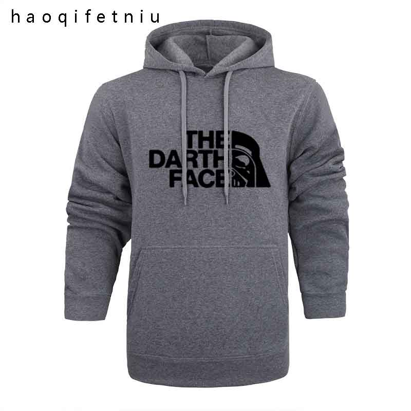 Star Wars Darth Face Hoodie Hoodies Sweatshirt Men 2018 New Spring Autumn Hooded Faces No Face Streetwear Homme Black Gray Hood