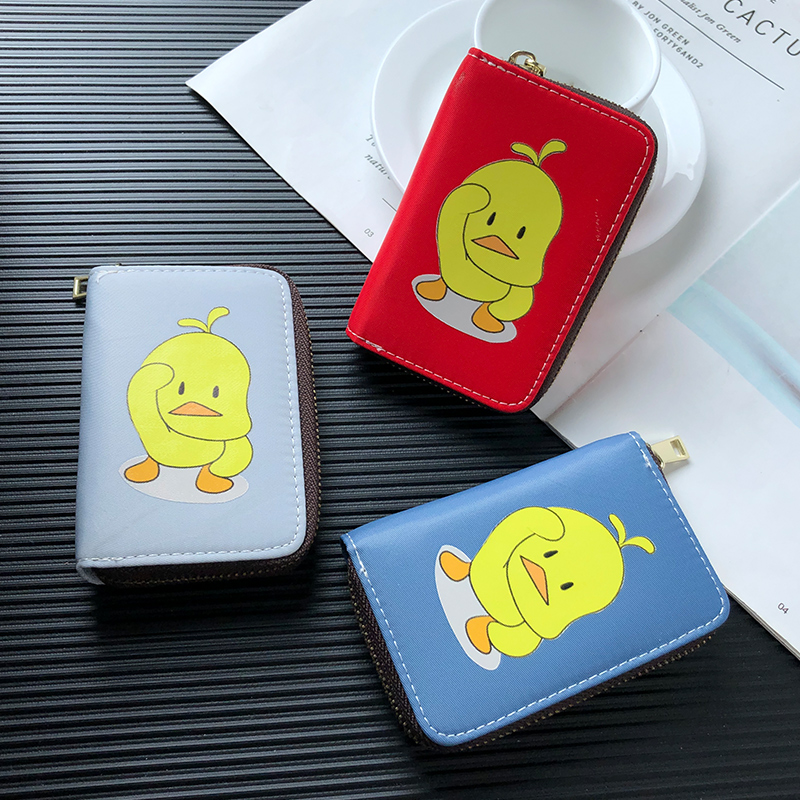 APP BLOG Women's Card Holder Korea Ultra Thin Short Cards Wallet Cute Duck Bank Card Case Bags Zipper Small Coin Purse 2019 New image