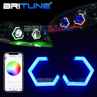 RGB Angel Eyes Tuning Car Projector Lens Hex Halo Ring Bluetooth APP Controller DRL Car Lights Accessories 80mm 70mm 86mm 90mm