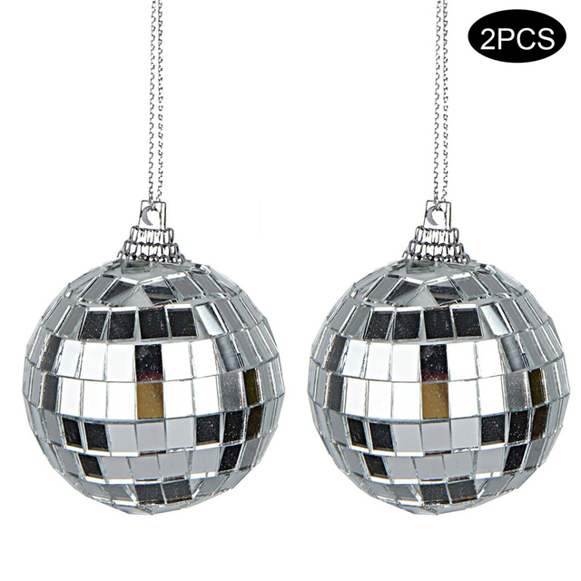 2 Pcs 4-Inch Silver Glass Rotating Mirror Disco Ball For Party Stage KTV Bars Shop Christmas Tree Decoration Crafts Ornaments