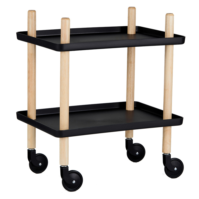 Nordic Hotel Dining Car Tea Trolley Home Three-layer Hot Pot Rack Multi-function Mobile Solid Wood Wine Cart