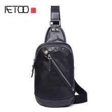 AETOO deri erkek çanta, kafa deri erkek göğüs çantası, rahat stiletto çantası, dikey tek omuzdan askili çanta