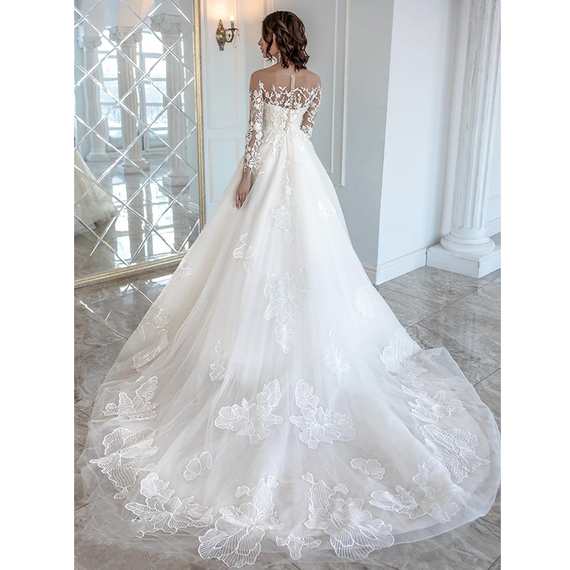 Image 2 - Verngo Ball Gown Wedding Dress Lace Appliques Wedding Gowns Long Sleeve Bride Dress Elegant Wedding Dress Boho Trouwjurk 2019-in Wedding Dresses from Weddings & Events