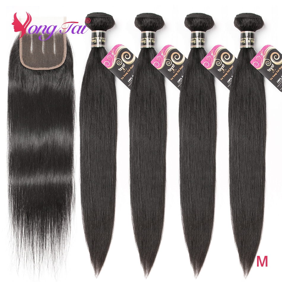 YuYongTai Hair Straight Indian Hair Human Hair Bundles With Closure Remy Hair 5Pcs Natural Color Free Shipping 4*4 Swiss Lace M