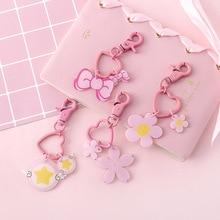 2019 Cartoon Bowknot Key chain Sakura Chains Chain Women Pendant Decoration lovely Pink Girl Beloved new Fashion Hot selling key Ring