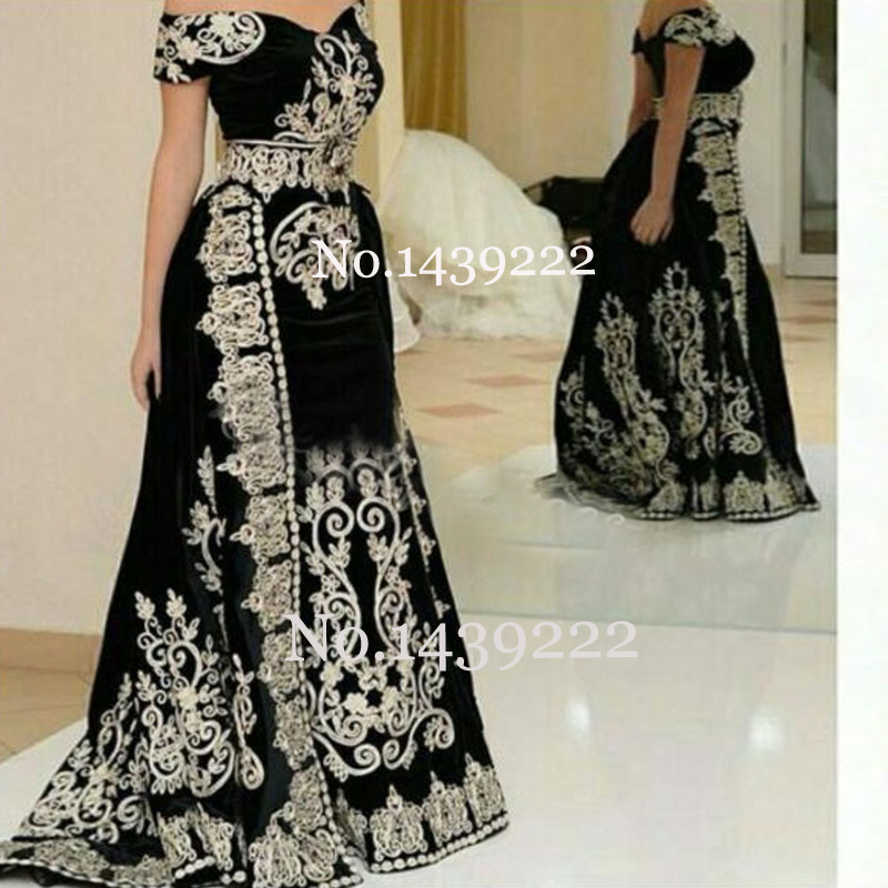 Black Off The Shoulder Moroccan Kaftan Evening Dresses Flowers Lace Appliques Women Arabic Muslim Special Occasion Formal Party