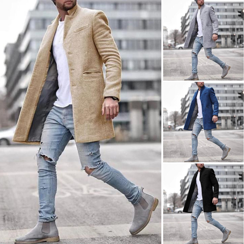 ZOGAA Brand Mens Coat 2020 Slim Casual Men Coat Winter 4 Colors Men Coats Winter Formal Mens Trench Coat Jacket Plus Size S-3XL