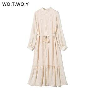 WOTWOY 2020 Gespleißt Polka Dot Kleider Frauen Sommer Süße Schärpen A-Line Kleid Frau O-ansatz Mittler-kalb Lange Kleid Dame kawaii Koreanische