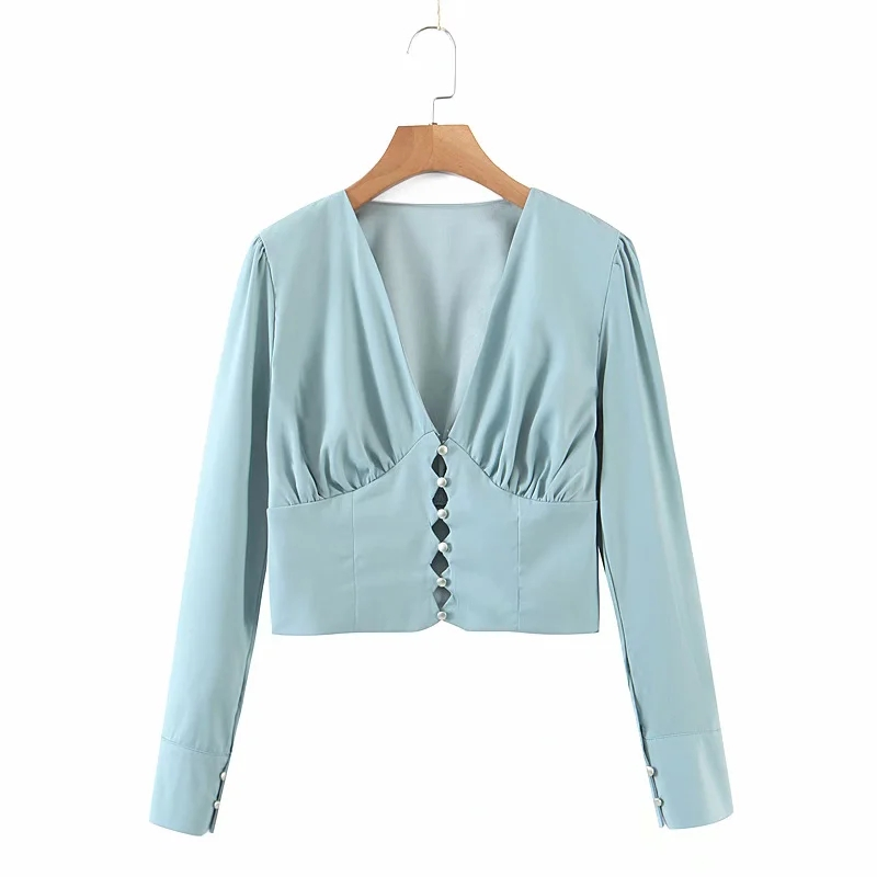 Купить xnwmnz 2020 za женская модная повседневная короткая блузка дворцового