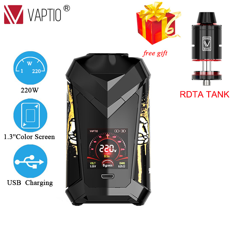 Gift RDTA/paragonTANK Original 220W Vape Mod Vaptio Super Cape Box Mod E-cigarette 1.3inch HD Color TFT Screen Fit 18650 Battery