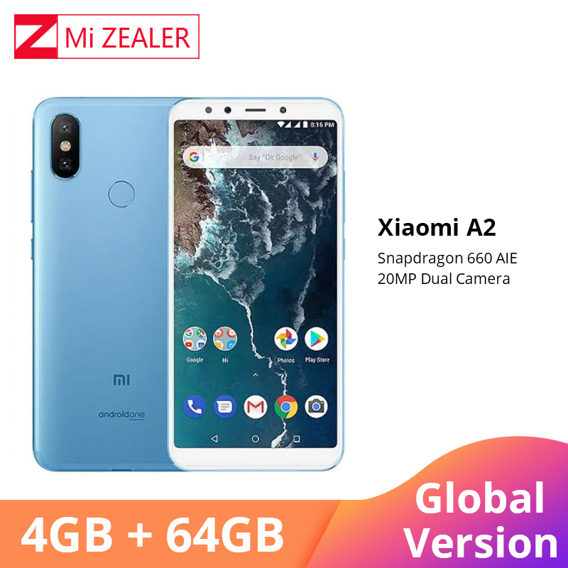 Version mondiale Xiaomi A2 4GB RAM 64GB ROM téléphone portable 5.99 18:9 plein écran Snapdragon 660 Octa Core 20MP + 12MP AI double caméra